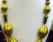 Vintage HUGE chunky modernist Brass Hollow Work Beads & Wood Spacer Necklace