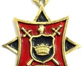 1930's Crown Trifari Red & Black Enamel Regal Coat of Arms Gold Chain Necklace