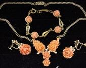 Sale Vintage 1940 WW2 Occupied Japan Molded Celluloid Rose Parure: Necklace, Bracelet, Earrings