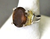 Vintage 10ct Faceted Smokey Topaz Sterling Silver & 18K GF Rope Design