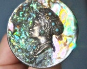 Antique Abalone, Turquoise & Sterling Silver African Woman Cameo Pendant Necklace Brooch