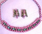 Beautiful 1950's Art Deco Sparkling Pink & Blue Gray Crystal Rhinestone Choker Necklace