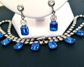 Beautiful Art Deco Royal Cobalt Blue Crystal Prong Set Rhinestone Parure Necklace & Earrings Set