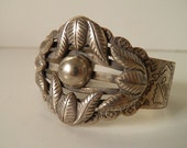 RESERVED Amazing Old Dead Pawn Embossed Silver Repousse Native American Cuff Bracelet
