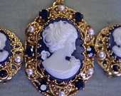 Antique West German Gold Filigree Black Cameo, Crystal & Pearl Necklace and Earrings Parure Set