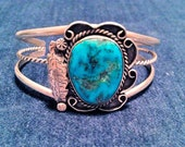Beautiful Vintage Old Pawn Sterling Silver & Chunky Turquoise Native American Cuff Bracelet