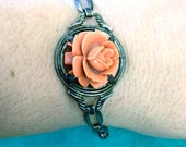 Beautiful Vintage Sterling Silver Art Deco Molded Celluloid Coral Rose Bracelet