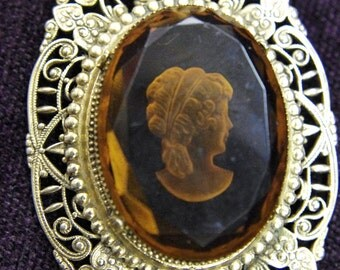 Victorian Amber Citrine Intaglio Reverse Carved Cameo Set in Brass Stamping Filigree Lavaliere Necklace: Huge Pendantrr