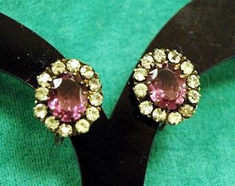 Art Deco Sterling Silver, Amethyst & Zircon Screw Back Earrings
