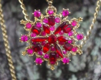 Magental Pink & Ruby Red Navette Crystal Rhinestone Bib Lavaliere Pendant Necklace and Earrings