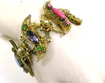 Vintage Bracelet: SELRO Gold Bookchain, Crystal Rhinestone, Pearl & Moonstone Art Glass