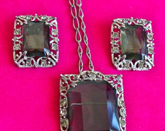Sarah Coventry CELEBRITY Smokey Topaz & Crystal Silver Filigree Necklace Earring Set