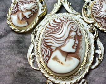 Cameo Necklace & Earrings Set White Molded Plastic