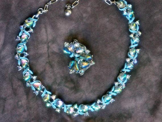 Vintage BSK Art Deco Light Blue Enamel Leaf & Aurora Borealis Crystal Rhinestone and Abstract Amorphous AB Cabochon Collar Necklace
