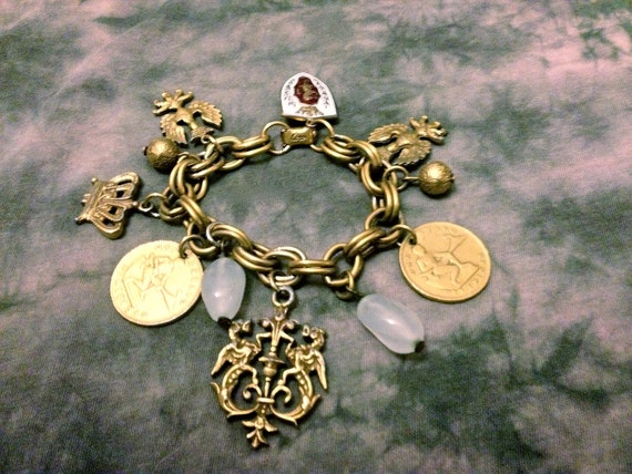 Vintage 1940's CORO Crest, Coat of Arms, Dragon, Coin Charm Bracelet