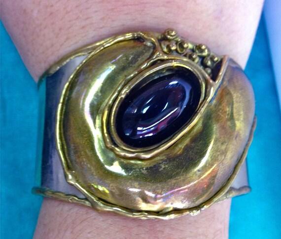 Vintage Abstract Mixed Metal Onyx, Brass & Silver Hand Made Artisan Boho Avante Garde Cuff Bracelet