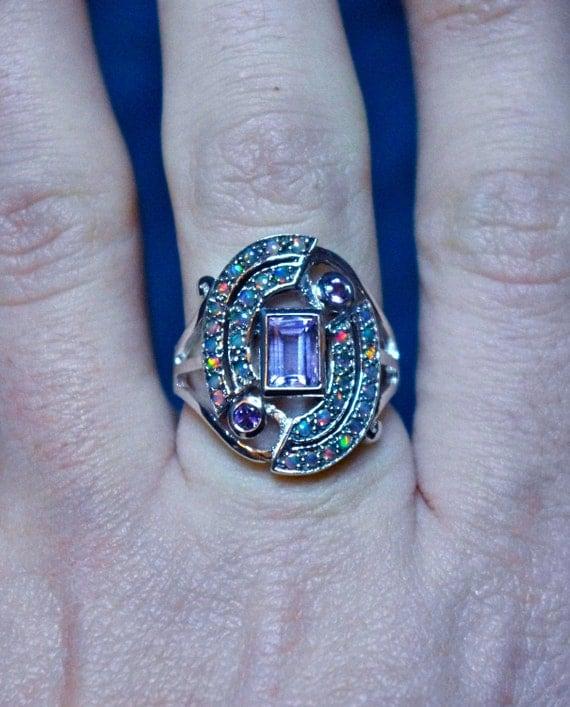 Gorgeous Vintage Amethyst & Opal Geometric Art Deco Design Sterling Silver Ring
