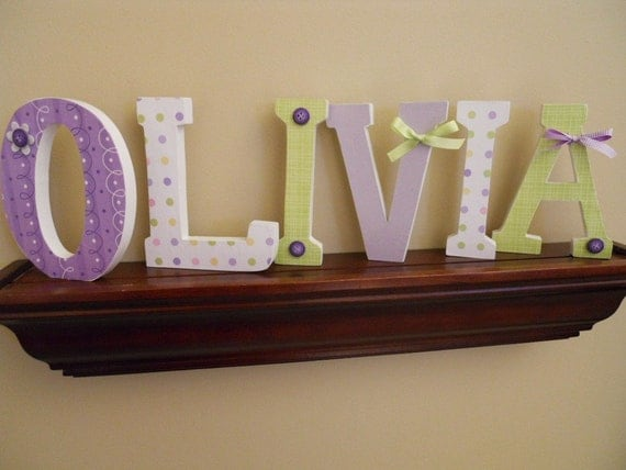 Custom wooden letters nursery kids rooms six inch for Letters for kids rooms