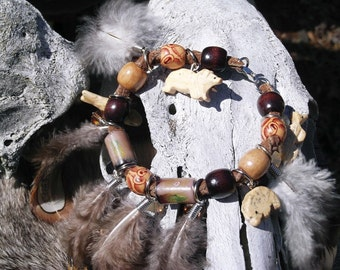 "Fabulous Feather and Bead Bracelet ""Artemis"" Woodland/Hippie/Gypsy/Boho-REDUCED"