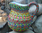 """Upcycled Clay Mosaic Pitcher, """"Magic Milk"""""""