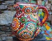 Upcycled Ceramic Pitcher Multi Color Multi Pattern Clay Mosaic