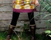 women's yoga-top skirt - gold lovesme and raspberry linen - sizes xs - xl