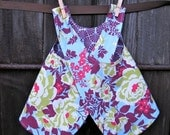girls top / dress - piper jane's reversible pinafore - 18 - 24 mo, 2T, 3T, 4T or 5T - heirloom, amethyst & sky