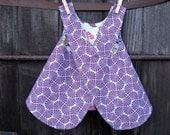girls reversible dress / top - piper jane's pinafore - 6 - 9 months or 12- 18 months - heirloom, amethyst & sky