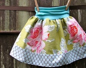ready to ship size 2T/3T - girls skirt - sophie's yoga-top - roses & polka dots