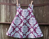 girls top / dress - piper jane's reversible pinafore size 18 - 24 mo, 2T, 3T, 4T or 5T - damask & sparrows