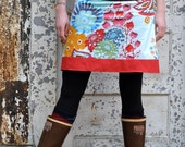 women's yoga-top skirt -  sizes xs - xl - summer totem and red linen
