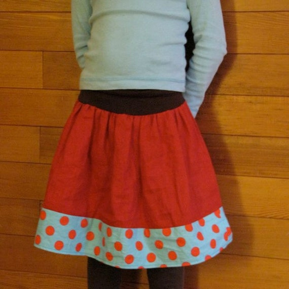 girls skirt - sophie's yoga-top in red linen with polka dot trim