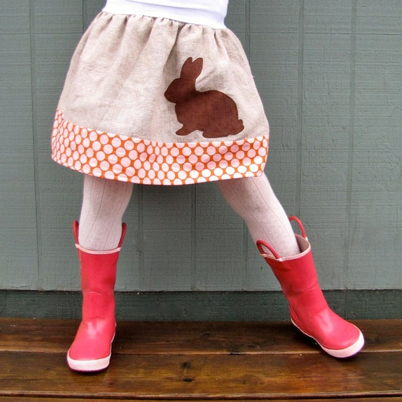 girls skirt - sophie's yoga-top - spring rabbit in chocolate corduroy, natural linen, and polka dot
