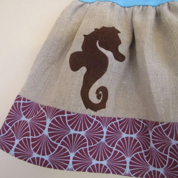 girls skirt - sophie's yoga-top - seahorse on linen