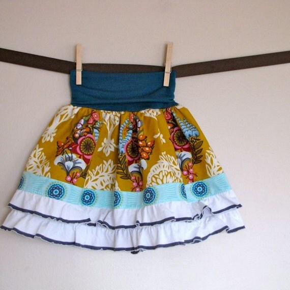 girls skirt, made to order sizes 6 months to 10 years - sophie's yoga-top skirt in gold loves me & ruffles