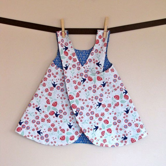 girls top / dress - piper jane's reversible pinafore size 18 - 24 mo, 2T, 3T, 4T or 5T - songbird & damask in blue
