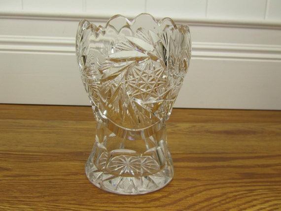 Small Vintage Cut Glass Vase - Catch All