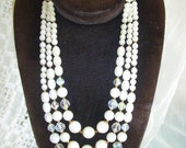 Vintage Three Strand Necklace Aurora Borealis Crystal beads & Pearls