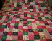 Pink Full Size Patchwork Cotton Quilt Lined in Pink Cotton Fabric