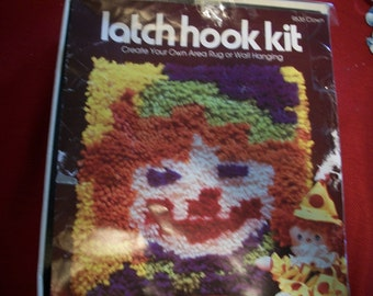 Clown Latch Hook Wall Hanging Kit: Comes with Yarn, Canvas & Directions