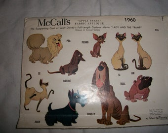 Cast of Lady & The Tramp Applique Craft Pattern