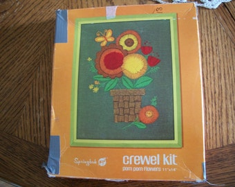 Floral Bouquet Crewel Embroidery Kit: Comes with Fabric, Yarn, Needle & Directions