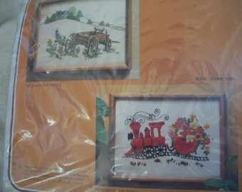 Wagon Crewel Embroidery Kit With Yarns, Needle, Directions