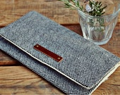 LAST ONE.  Eco-Friendly Clutch/ Purse - Gray Herringbone - wool and organic cotton