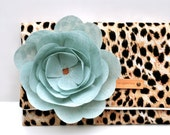 SAMPLE SALE CLUTCH - Animal Print with Mint Linen Flower Pin - organic and eco-friendly