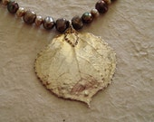 Silver Dipped Aspen Leaf with Pearls on Leather