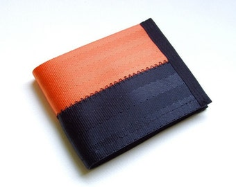 Seat belt wallet in orange and black