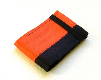 Minimalist credit card wallet with elastic - orange and black