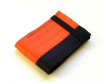 Minimalist credit card wallet with elastic - orange and black