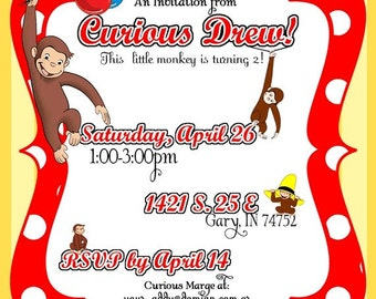 DIY Printable, but Customized Curious George Monkey Invitation